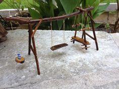 Miniature Fairy Garden Swing Set by on Etsy Miniatur Fairy Garden Schaukel Set von Mini Fairy Garden, Fairy Garden Houses, Fairies Garden, Garden Gnomes, Fairy Gardening, Garden Swing Sets, Garden Hammock, Mery Crismas, Fairy Garden Furniture