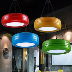 Quality Retro industry wind retro color rubber Pendant Lightings Cafe Restaurant Bar Cafe Table Lamps creative personality with free worldwide shipping on AliExpress Mobile Coffee Shop Design, Cafe Design, Store Design, Design Design, Table Cafe, Cafe Bar, Tire Table, Bar Sala, Decoration Restaurant