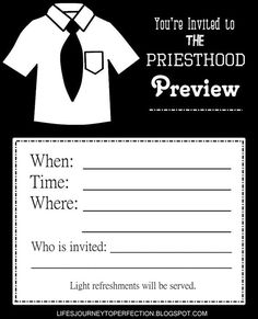 Life's Journey To Perfection: LDS Priesthood Preview Ideas and Printables