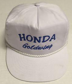 Vtg Honda Goldwing Strapback Hat Motorcycle White Rope Brim Beat Up #Nissun #BaseballCap