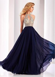 Buy discount Special Chiffon Halter Neckline Cut-out A-line Prom Dresses With Beadings at Laurenbridal.com