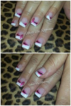 Breast Cancer Pink Ribbon Acrylic nails with nail art. Nails By Ramona