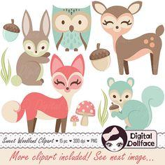 Dans une palette de couleur douce, cet ensemble de clipart animal woodland est idéal pour la décoration de douche et chambre denfant bébé ! Parmi