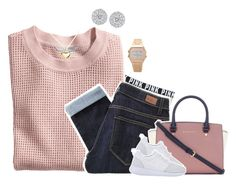 """""""Why am I not doing work ugh"""" by kayarifashion ❤ liked on Polyvore featuring Victoria's Secret PINK, H&M, Paige Denim, Argento Vivo, Michael Kors, women's clothing, women's fashion, women, female and woman"""