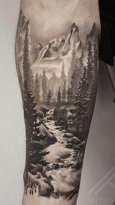 Mountain Sleeve Tattoo, Forest Tattoo Sleeve, Nature Tattoo Sleeve, Wolf Tattoo Sleeve, Full Sleeve Tattoos, Tattoo Sleeve Designs, Forest Forearm Tattoo, Mountain Tattoos, Natur Tattoo Arm