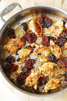Chicken and Sun Dried Tomatoes...serve with noodles and a tomato cream sauce infused with sun dried tomatoes.