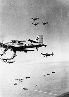 Junkers Ju. 87 dive-bombers on way to attack British tanks at Ghobi.