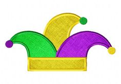 Mardi Gras Jester Hat Available In Both Applique and Stitched