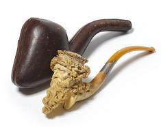 A Large Finely Carved Meerschaum Pipe in the Form of Bacchus