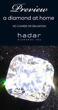 Exclusively at HadarDiamonds.com ~ Preview a diamond in the comfort of your own home.  Search our selection of Sale diamonds and receive as early as tomorrow.  Inquire for details.
