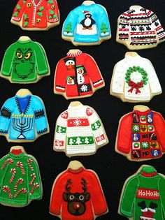 christmas cookies snowman Weihnachtspltzchen the example of that peeping snowman, devilish Grinch, and Santa stuck in the chimney. Make your ugly sweater cookies utterly grin-inducing. Christmas Sugar Cookies, Christmas Sweets, Noel Christmas, Christmas Goodies, Holiday Cookies, Christmas Outfits, Christmas Parties, Ugly Sweater Cookie, Ugly Xmas Sweater
