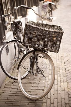 Vintage bicycle fine art photograph in Amsterdam, Travel home decor $30.00