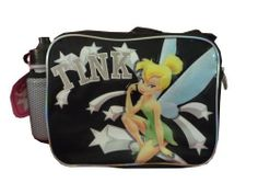 "Disney Fairies Tinkle Bell Lunch Box - Insulated Lunch Bag - Long Shoulder Strap and Handle, Black by Disney. $14.74. Official Licensed Product with Tags. Free Water Bottle. Approx. Size: 10"" W x 8"" H x 4"" D. Insulated Lunch Bag. Shoulder Strap and Handle. This is the official licensed lunch box build to last. Kids who are fans of the character will love this lunch box."