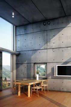 Tadao Ando, torre convertita in casa a Hyogo. #hyogo #ando #maestro #interior #cemento #legno