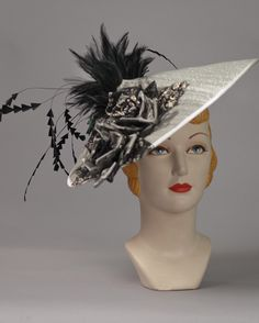 3149FS Fascinator, buntal, silver w/black – Louise Green Millinery