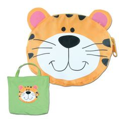"Stephen Joseph Tiny Tote Tiger — 13.5""×14.5""— Unzip this cute little pouch, turn it inside out and you will find a tote bag inside! The pouch becomes a colorful pocket on the out side of the tote...oh how clever! It's made of nylon with a velcro closure at the top of the tote. Cool tote bag for kids."