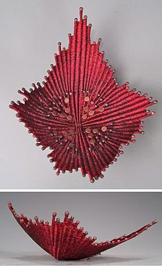 Copper and red basketry sculpture