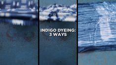 Indigo Dyeing Three Ways Tie Dye Folding Techniques, Fabric Dyeing Techniques, How To Tie Dye, How To Dye Fabric, Diy Tie Dye Shirts, Tie Dye Crafts, Tie Dye Fashion, Shibori Tie Dye, Tie Dye Patterns