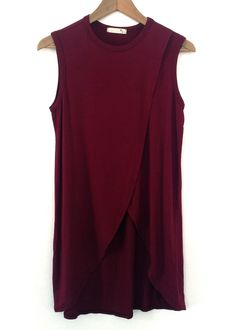 burgundy overlap front long muscle shirt $18