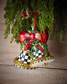 Noel Bells Christmas Ornament by MacKenzie-Childs at Horchow.  #HORCHOWHOLIDAY14