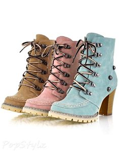 Charm Foot Women''s Studded High Top Chunky Heel Martin Boots
