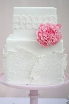 Pink Peony & Lace Weding Cake