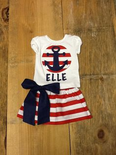 Hey, I found this really awesome Etsy listing at https://www.etsy.com/listing/188977480/girls-patriotic-anchor-outfit