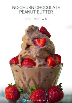 This no-churn chocolate peanut butter ice cream is rich, creamy, and has just the right amount of sweetness. Better yet, it's made from only four ingredients! Get the recipe here. // healthy recipes // desserts // cheat clean // treats // Shakeology // Beachbody // BeachbodyBlog.com