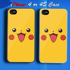 Pokemon Pikatchu Face Custom iPhone 4 or 4S Case Cover