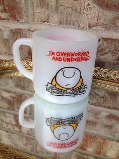 "Vintage Ziggy D-Handle Federal Milk Glass Mug - ""I'm Overworked"