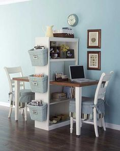 Everyone needs a space of their own. This is especially true when it comes to home offices or just an area to pay bills and whatnot. Unfortunately, there isn't always room to accommodate separate desks. This clever idea spotted at the DIYideas.com website shows how to transform a single table and bookcase into a space for two...