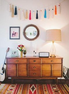 Style At Home With Natalie Fredrick From Top Knot Goods; awesome tassel garland and mcm piece. Inspiration Design, Home Decor Inspiration, Decor Ideas, Style At Home, Decorating Your Home, Interior Decorating, Interior Design, Cosy Home, Deco Boheme