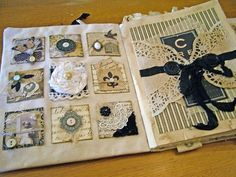 Love the embellished squares on the left page of this luscious fabric journal.