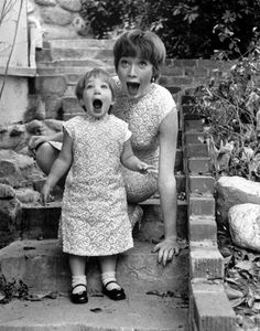 Sachi Parker play-screams with mom Shirley MacLaine in 1959. Exorcist author William Peter Blatty refuted MacLaine's claim that her daughter was the inspiration for the possessed Regan, or that he used her face on the book cover. vintage everyday: Movie Stars at Home with Their Kids LIKELY UNDER COPYRIGHT, BUT WHAT A CUTE PHOTO