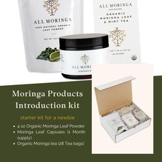 Moringa Products Introduction kit, a starter kit for a newbie. Moringa Powder, Moringa Oil, Moringa Leaves, Mint Tea, 1 Month, Vegan Life, Seed Oil, Starter Kit, Natural Remedies