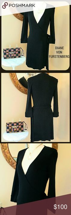 Diane Von Furstenberg Black Wrap Dress Size 8 Like new condition! DVF lightweight solid black strap/tie dress. Knee length. Size 8.I would recommend wearing a slip underneath. DISCOUNTED BUNDLES AND FREE GIFT WITH EVERY PURCHASE Diane von Furstenberg Dresses