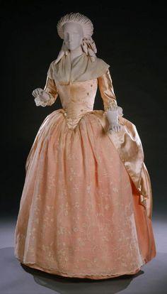 HISTORICAL SALMON & ORANGE PRINTED DRESSES