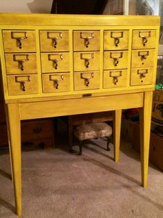 Refinish an old library card catalog for an eye-catching new look.