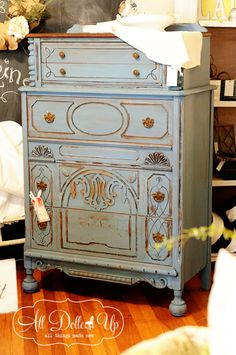 French blue chalkpaint and gold gilt touches