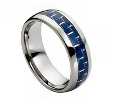 8mm Tungsten Ring with Blue Carbon Fiber Inlay High Polish
