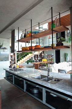 Kitchen Remodeling Ideas Browse photos of industrial kitchen designs. Discover inspiration for your urban kitchen modernize or rearrange next ideas for storage, organization, layout. Industrial Decor Kitchen, Industrial Kitchen Design, Kitchen Design, Urban Kitchen, Kitchen Renovation, Kitchen Decor, Modern Kitchen, Kitchen Interior, Kitchen Styling