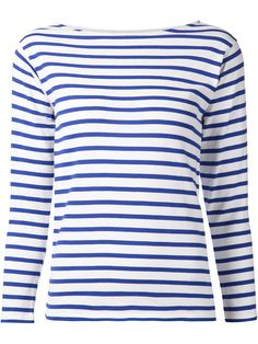 Light Blue Saint Laurent Stripe Boatneck Sweater at Kirna Zabête