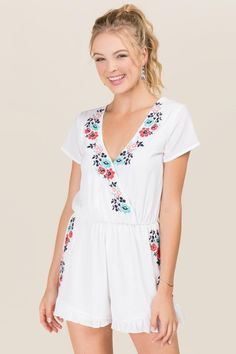 Cyathea Floral Embroidered Romper