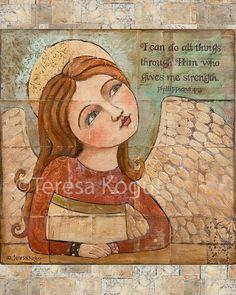 Wall Decor | Wall Art | Angel | 2768 Gives Me Strength | 8x10 print | Teresa Kogut