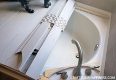 If you have a bathtub or garden tub you don't use often, learn how to increase your space by making a beautiful inexpensive removable wood bathtub cover. Jacuzzi Covers, Bathtub Cover, Bathtub Shelf, Wood Bathtub, Concrete Bathroom, Bathroom Faucets, Guest Bathrooms, Dream Bathrooms, White Bathrooms