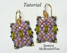 Beaded Earring Instructions,Seed Bead Tutorial,PDF Beading Tutorial, Beaded Earrings Pattern, Seed Bead Earrings Beadwoven Earrings Pattern