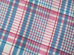 Antique 19th Century Fabric Gorgeous Cotton Printed Plaid Blue Pink Windowpane