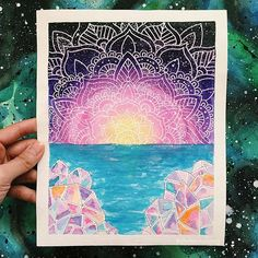 from @cosmics0ul -  Crystals, the ocean, & sunsets. ✨ #mandala #sunset…