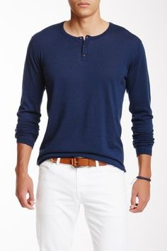 Autumn Cashmere Long Sleeve Henley Sweater