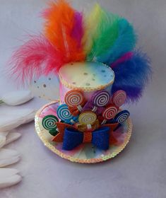b50a9f3c49d08 Rainbow top hat Centerpiece Candy mini top hat Headband Rainbow Mini Top Hat  Birthday party hat